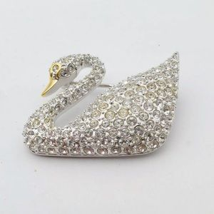 Swarovski Crystal Swan Pin